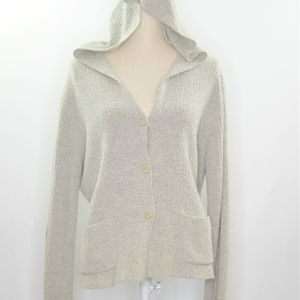 Eileen Fisher Gray Button Down Hooded Cardigan